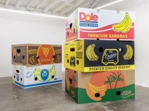 Five Banana Boxes, 2018, acrylic on marine ply, BDSM equipment, wood, glue, screws. Installation with variable dimensions: each box 90 x 187 x 146 cm