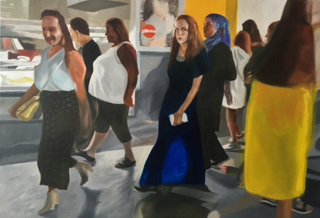 Figures at nightfall, 2018, 140x100cm, oil on canvas