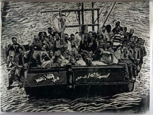Thomas Kilpper, <em>Refugee Boat</em>, wood cut; courtesy: the artist