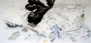 Thomas Kilpper, <em>A Lighthouse for Lampedusa</em>, 2009, drawing mixed media, 330 x 150 cm; courtesy: the artist