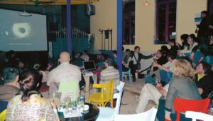 <em>Who is Afraid of the Big Bad Crisis?</em>, 2011, Radio Bar, screening video workshop; courtesy: Tirana Art Lab