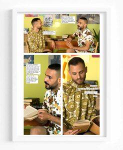 Fehras, Borrowed Faces: Scene no. 29, page no. 02, 2020, frames with photograph, colour, digital print, 30 x 45 cm