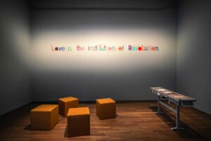 Mikhail_Karikis, <em>Love Is the Institution of Revolution</em>, 2017, exhibition view, Casino Luxembourg; photo: Mike Zenari