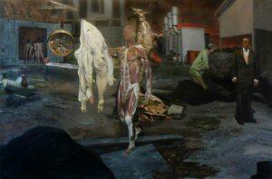 Enkelejd_Zonja, <em>OPTION OUT OF THE TABLE</em>, 2012, 250 x 140 cm, oil on canvas