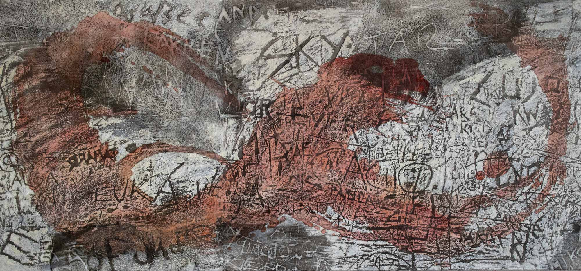 Nadia_Kaabi-Linke, Santa Margarita, 2019, transfer print, mixed media 90 x 230 cm; photo: Timo Kaabi-Linke