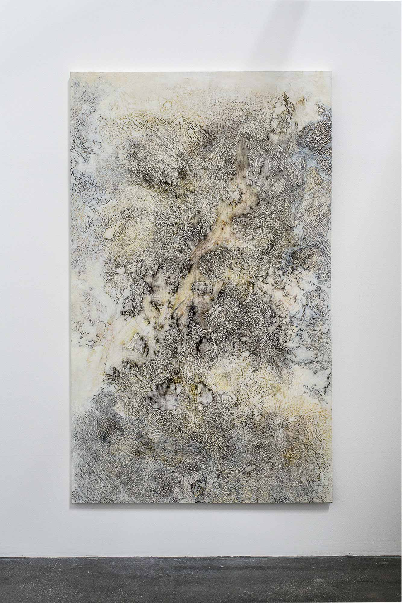 Nadia_Kaabi-Linke, A Short Story of Salt and Sand, 2014, transfer prints, mixed media, 230 x 140 cm; photo: Mustafa Aboobaker