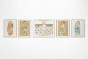 Guelsuen_Karamustafa, <em>Swaddling the Baby</em>, 2015, exhibition view, Villa Romana, Florence; photo: OKNOstudio